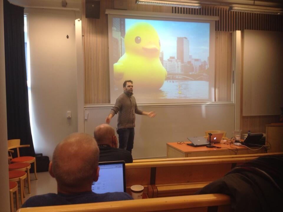 "PHOTO: Eirik Meling via  Twitter:""Journalism is really important"" @lambrechts shows best practice in Norway. #djinorden13 pic.twitter.com/SR9MIl5Tly"